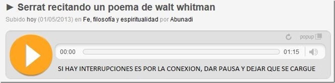 SERRAT - RECITANDO UN POEMA DE WALT WHITMAN-