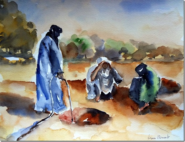 Tuaregs in a water well.