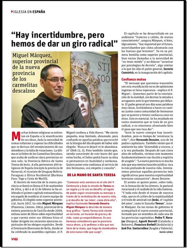 Vida Nueva, entrevista y Bienvenida al Superior Provincial OCD Iberica