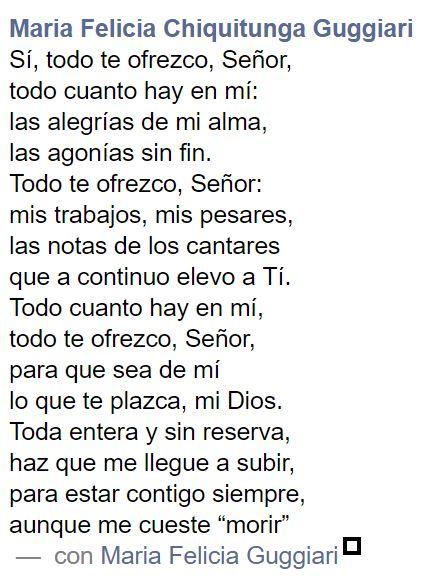 ¡Todo te ofrezco, Señor! María Felicia Chiquitunga